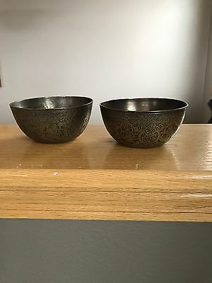 2 Antique Brass Bowls With People Figures Middle Eastern