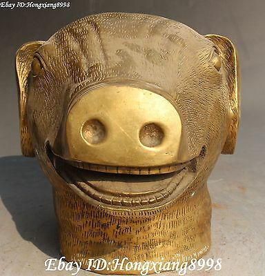 Marked Chinese Fengshui Brass Zodiac Year Pig Pigs hog Hogs Animal Bust Statue