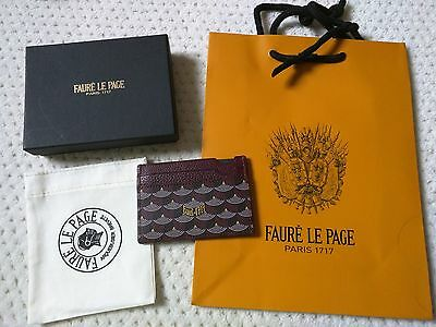 NIB RARE Faure Le Page WINE RED leather canvas 4 credit card case, shopping bag