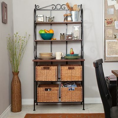 Bakers Rack Durable Metal And Wood With 4 Wicker Storage Baskets U0026 Wood  Shelves