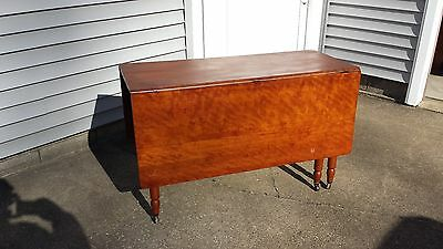 Antique Six-Leg Drop-Leaf Table Walnut with Wheels