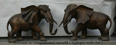 """28""""Old Collect Chinese Dynasty Bronze Carved Animal Elephant Success Statue Pair"""