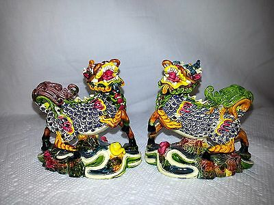 Set of 2 Chinese Colorful Foo Foo Dogs Figurines