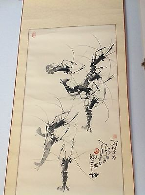 Lovely Antique Japanese Hanging Scroll Painting, Scorpions