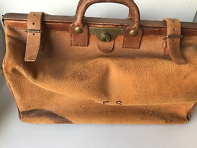 Vintage Doctors Leather Travel Bag Case with Initials Distressed