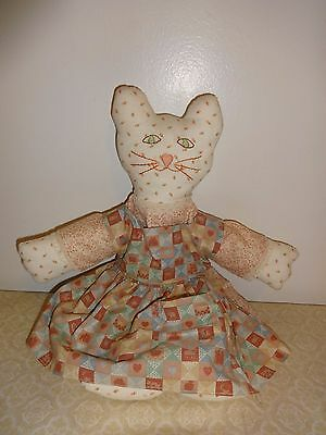 Folk Art Hand Sewn Calico Cat