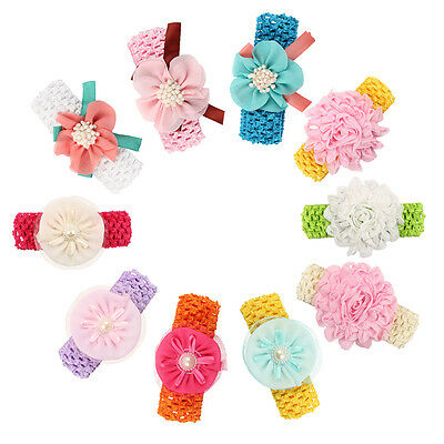 Kids Girl Baby Toddler Infant Flower Headband Hair Bow Band Accessories 10pcs