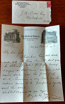 1903 The Waldorf Astoria Letter Head and the original 1903 Envelope, New York