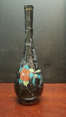 "Antique Japanese Kutani 10-1/4""  Bottle Vase, Meiji Period (1868-1913), Signed"