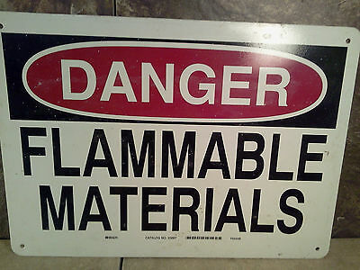 "Industrial Factory Sign - ""Danger - Flammable Materials"" -  Plastic Sign 14""x10"""