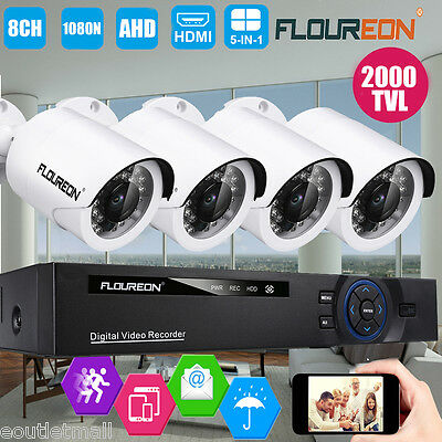 FLOUREON 1080N 8CH AHD DVR 2000TVL Home Security Camera CCTV Surveillance System