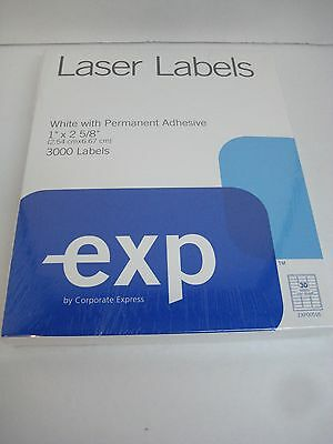 "Labels 3000 White Laser Labels 1"" x 2 ⅝"" Permanent Adhesive #783"