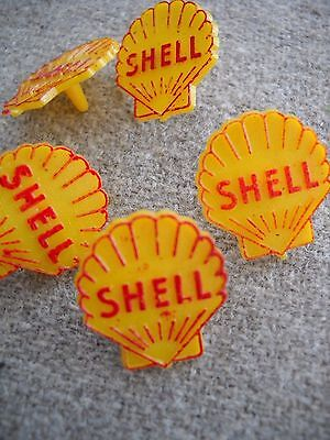 5 pcs Vintage SHELL Oil Advertising Golf Ball Marker Yellow Red Plastic Unused