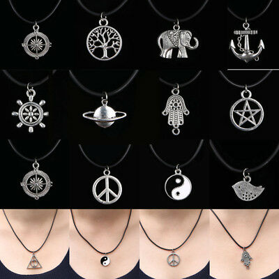 2018 Women Men Choker Pendant Necklace Charm Black Leather Rope Chain Cord Goth