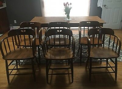 Vintage Antique Logatec Slovenia Solid Oak Fire House Captains Chairs set of 6