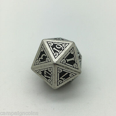METAL D20 20 sided die Campaign Coins Q Workshop tabletop roleplaying game dice