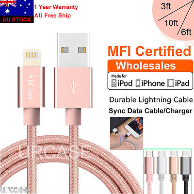 MFI Certified Apple Lightning Data Sync Cable Charger fr iPhone 7 6 6s Plus 5 5s