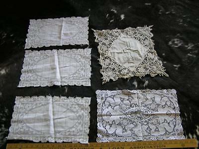 Vintage Elegant Lot of 5 Heirloom Estate Belgium Lace Placemats doilies runners