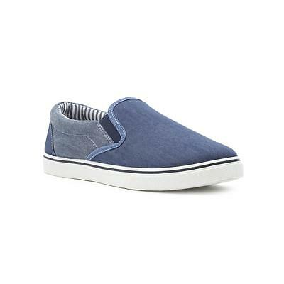 Red Fish Mens Navy Slip On Canvas Shoe - Sizes 6,7,8,9,10,11,12