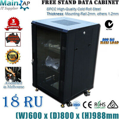 "18U 18RU 19"" 800mm Wheel Stand Server Cabinet CCTV Computer Data Rack Storage"