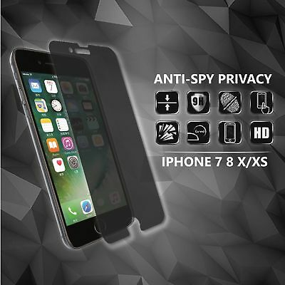 9H Anti-spy Privacy Tempered Glass Screen Protector Apple iPhone 7 8 X/XS Max/XR