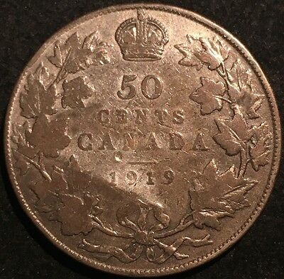 1919 Canada George V 50 Cents Silver Coin