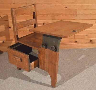 Antique Rich Grain Oak Ink Well School Desk & Chair & Pull Out Drawer DISPLAY