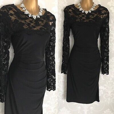 Phase Eight Dress Size 12 Black Lace Stretch Wiggle Occasion Party Evening.