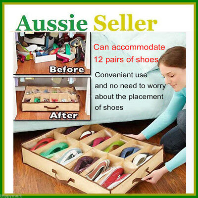12Pairs Shoes Organizer Holder Under Bed Closet Storage Fabric Bag Box Case BS