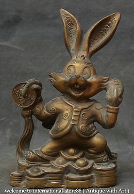 "9"" Old Chinese Feng Shui Copper Stand Zodiac Year Rabbit Wealth Coin Rich Statue"