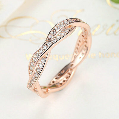 Sterling Silver Twist Of Fate & Clear CZ Plated Rose Gold Ring Handmade Jewelry