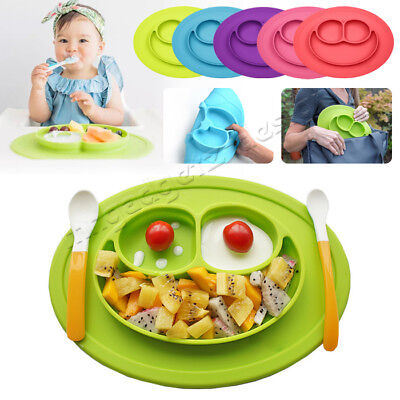 Divided Kids Dinner Plates Placemat Tray Food Silicone Mat Baby Suction Plates