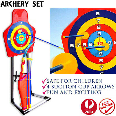 Sport Toy Archery Bow And Arrow Set For Kids Fun Game w/ Arrows And Target Stand