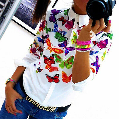 NEW Womens Blouse Chiffon Long Sleeve Ladies Top T Shirt Loose Short Tops UK