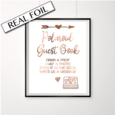 Polaroid Guest Book Sign in COPPER foil / Cute engagement Party decor / Photos