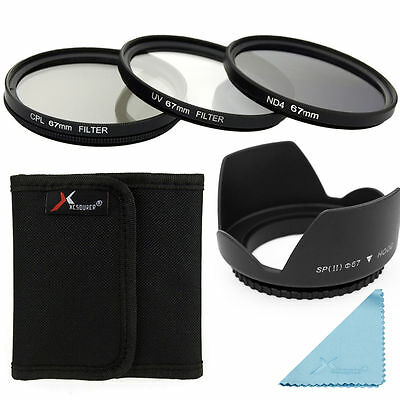 UV CPL ND4 Filter + Lens Hood 67mm For DSLR Canon 700D 650D 600D 550D 500D LF284