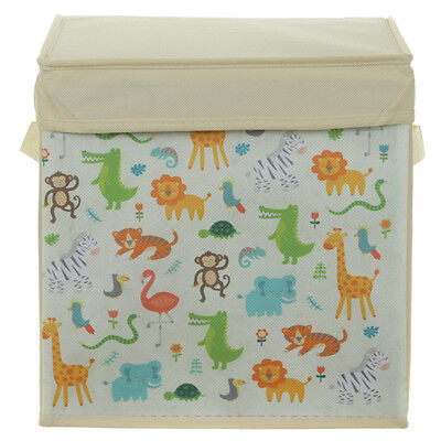 Zoo Animals Foldable Canvas Childrens Kids Storage Toy Box