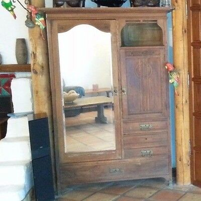 Gorgeous Oak Side by Side Armoire & Drawers with Beveled Mirror Tom Bosley