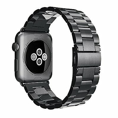 Apple Watch Case Stainless Steel Band Strap 42mm Series 1 Series 2 Black