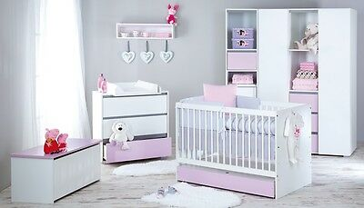Baby Furniture Set Wooden White&Pink Cot Bed 120x60 or 140x70 +Chest of Drawers