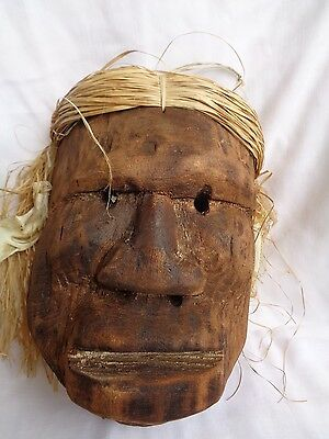 """Brazil Indigenous SCULPTURE MASK Wooden hand carved Fish bone earrings 10"""" x 7"""""""