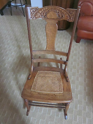 Rocking Chair Carved Wood Antique Oak Rocker Illinois Pick Up