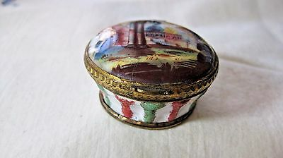 Antique PORCELAIN  PILL Snuff Box with a HAND PAINTED RUINS,SCENIC