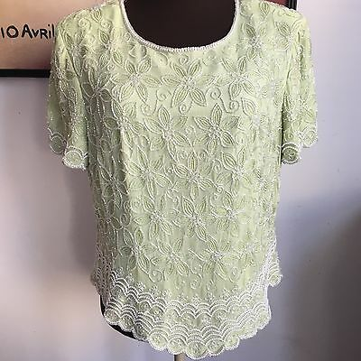 Adrianna Papell Beaded Blouse, Size 16, Mint Seafoam Green, Beads Pearls, Spring