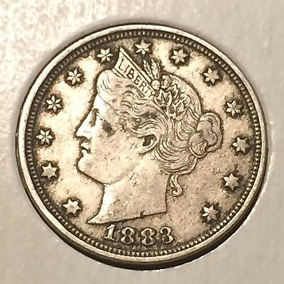 "1883 NO / CENTS' Liberty ""V"" Nickel   ^^ VERY FINE ^^  134 YRS OLD   3509"