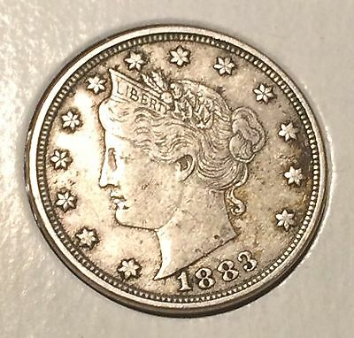 "1883 NO / CENTS' Liberty ""V"" Nickel   ^^ VERY FINE ^^  134 YRS OLD   3500"