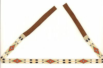 Navajo Off-White Beaded Hatband w/  Double Eagle Feather Design by Dianne White
