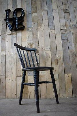 Retro Vintage Solid Wooden Turned Spindle Back Dining / Hallway Chair - Restorat