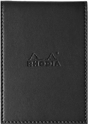 Rhodia ePure A7 Notepad Black Faux Leather Cover Pocket Notepad Lined Ruled