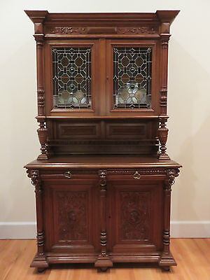 Antique Carved Walnut Cabinet China Hutch. Made in France late 1890's